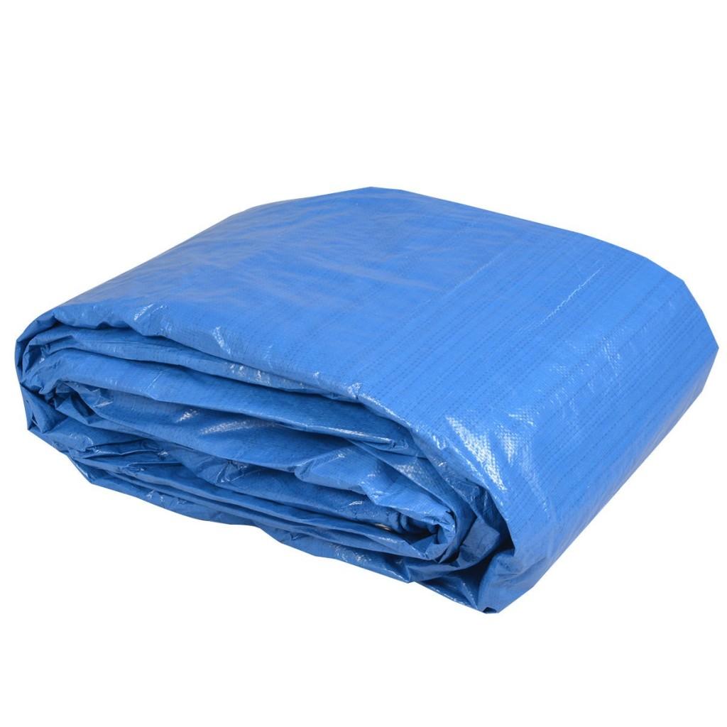 Rolled blue heavy duty tarps